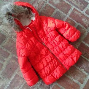 NWOT Orange Puffer Coat with Serpa Lined Hood